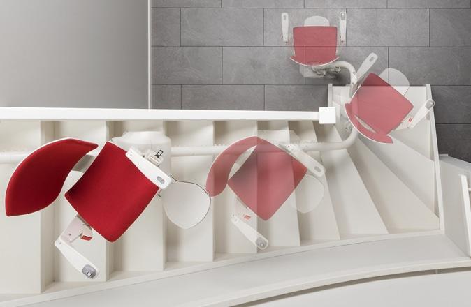 Dankzij de Reverse Drive Technology is de Modul-Air geschikt voor een smalle trap.